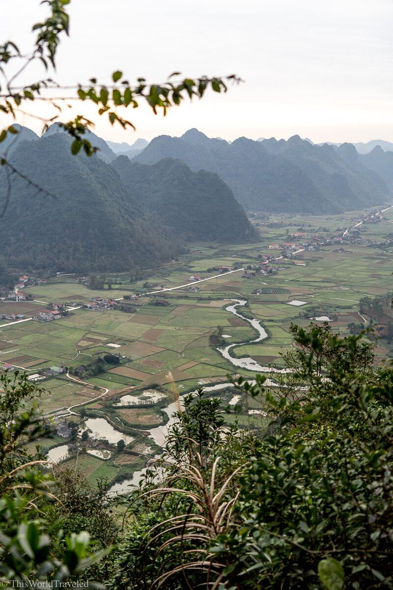 Seeing the Bac Son Valley as you begin the hike up