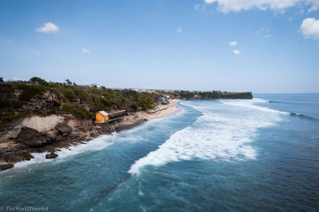 View of Balagan Beach from the viewpoint in Uluwatu, Bali