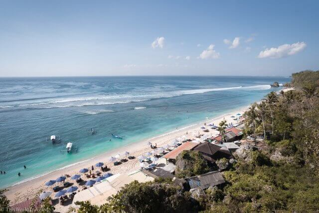 View of Thomas Beach from the stairs that lead down to the sea in Uluwatu Bali