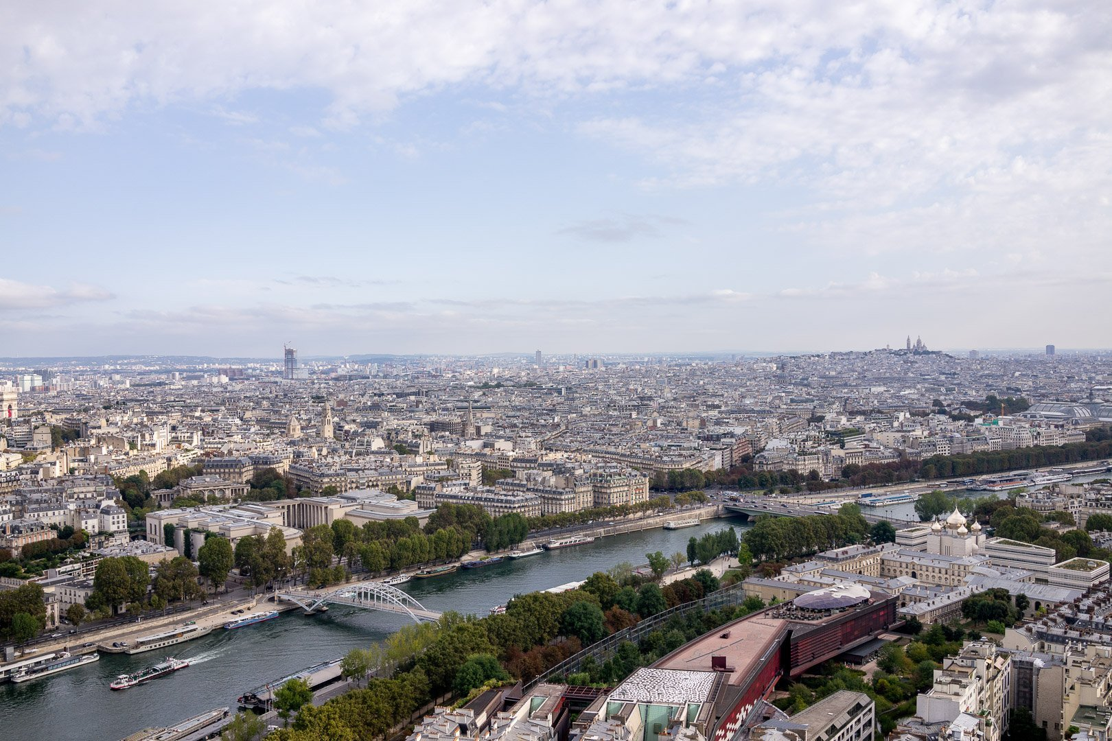 View of the Seine River from the observation deck at the Eiffel Tower in Paris