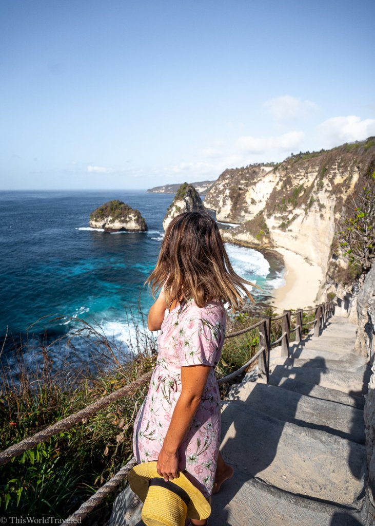 Girl on the steps leading down to Diamond Beach Bali