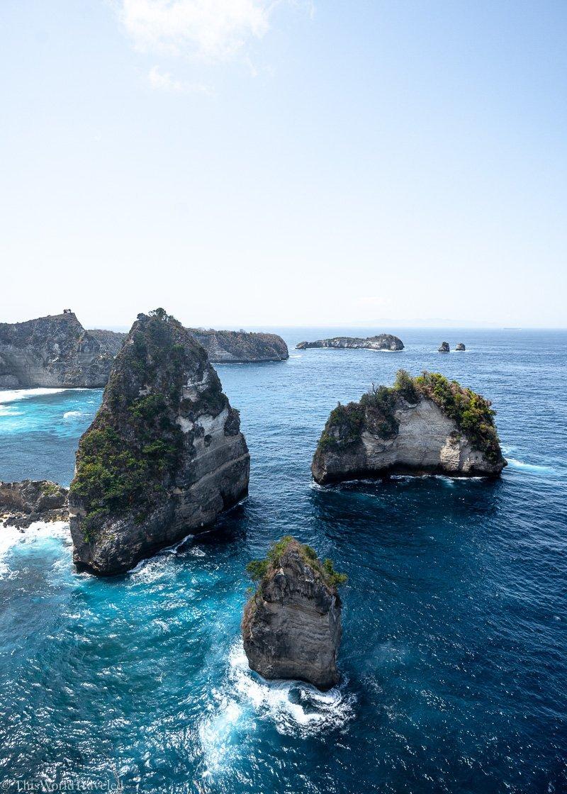 The towering limestones cliffs at Diamond Beach Nusa Penida, Bali