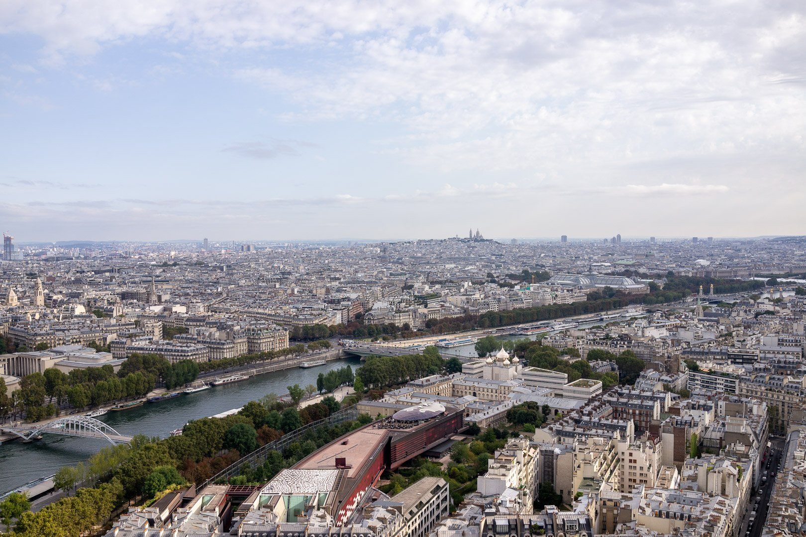 View of the Seine River in Paris France from the Eiffel Tower