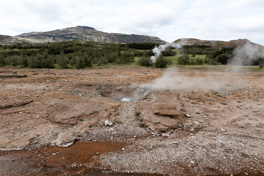 Little Geysir in Iceland's geothermal landscapes within the Golden Circle route
