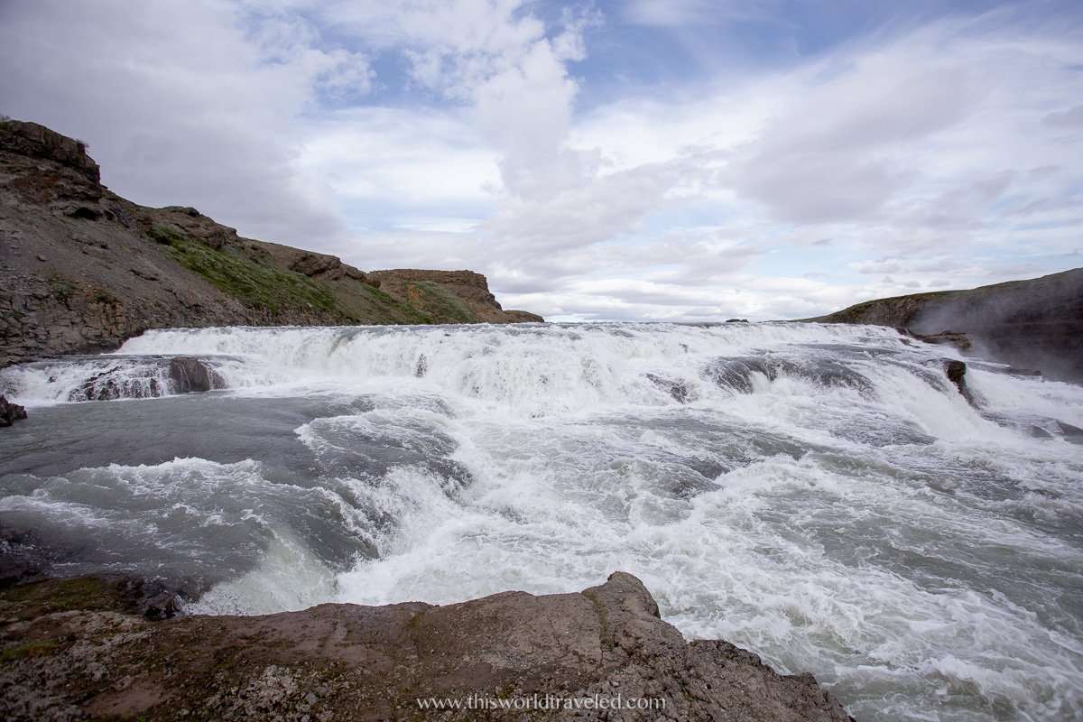 The powerful Gulfoss Waterfall located along the Golden Circle Route Iceland