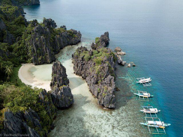 Hidden Beach on Tour C of an island hopping trip in El Nido in Palawan