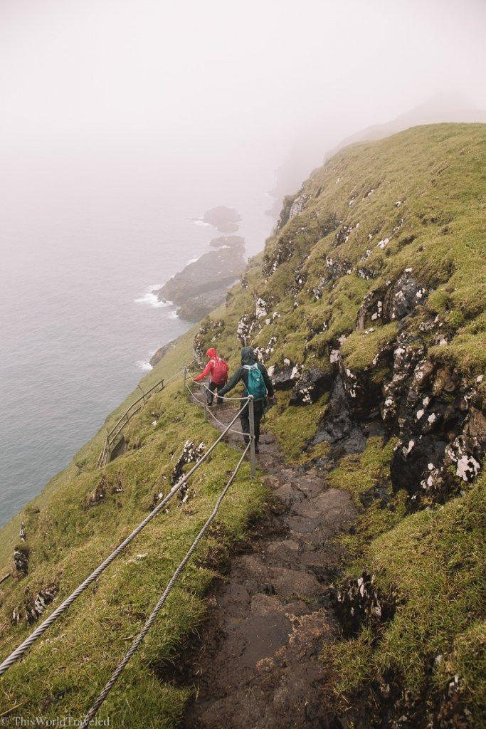 Hiking along the trails on Mykines in the Faroe Islands