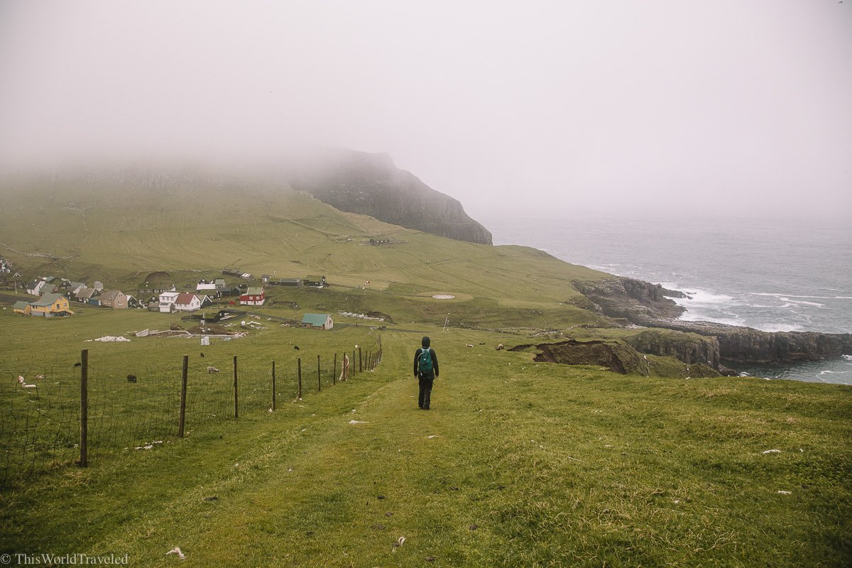 Hiking in the Faroe Islands on Mykines where you can see lots of puffins during the breeding season