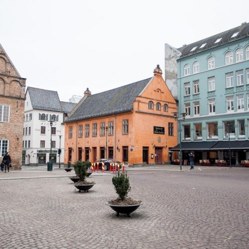 Colorful buildings in Oslo, Norway's main city square