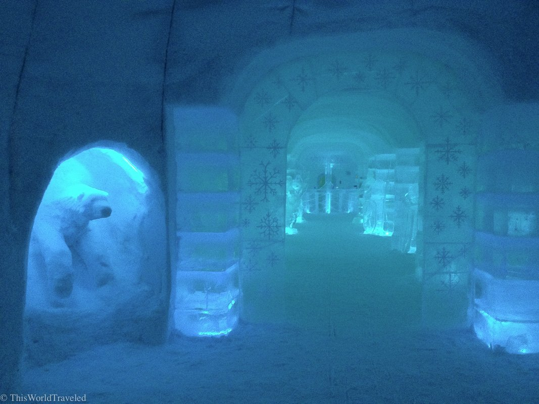 A polar bear sculpture made out of ice at the Sorrisniva Igloo Hotel in Alta, Norway