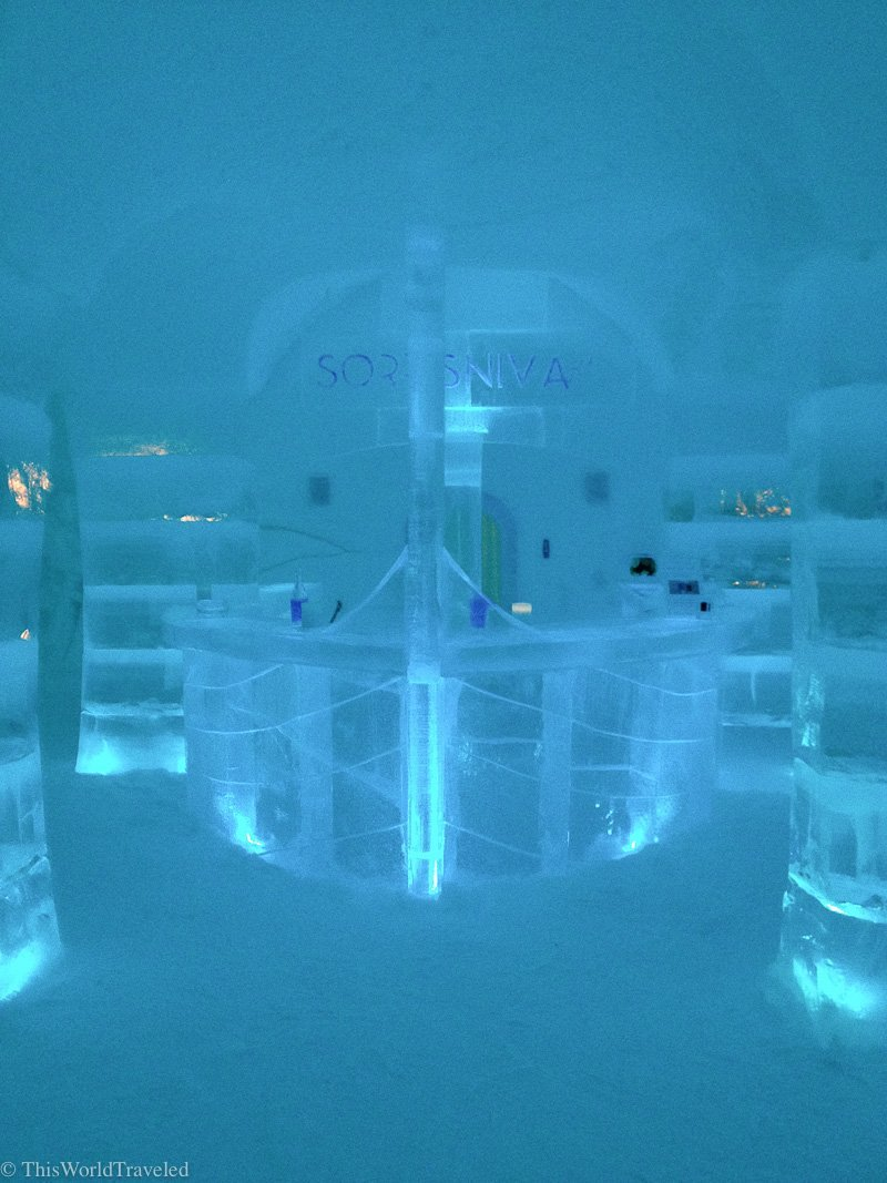 A bar and sculptures made out of ice at the Sorrisniva Ice Hotel in Alta, Norway