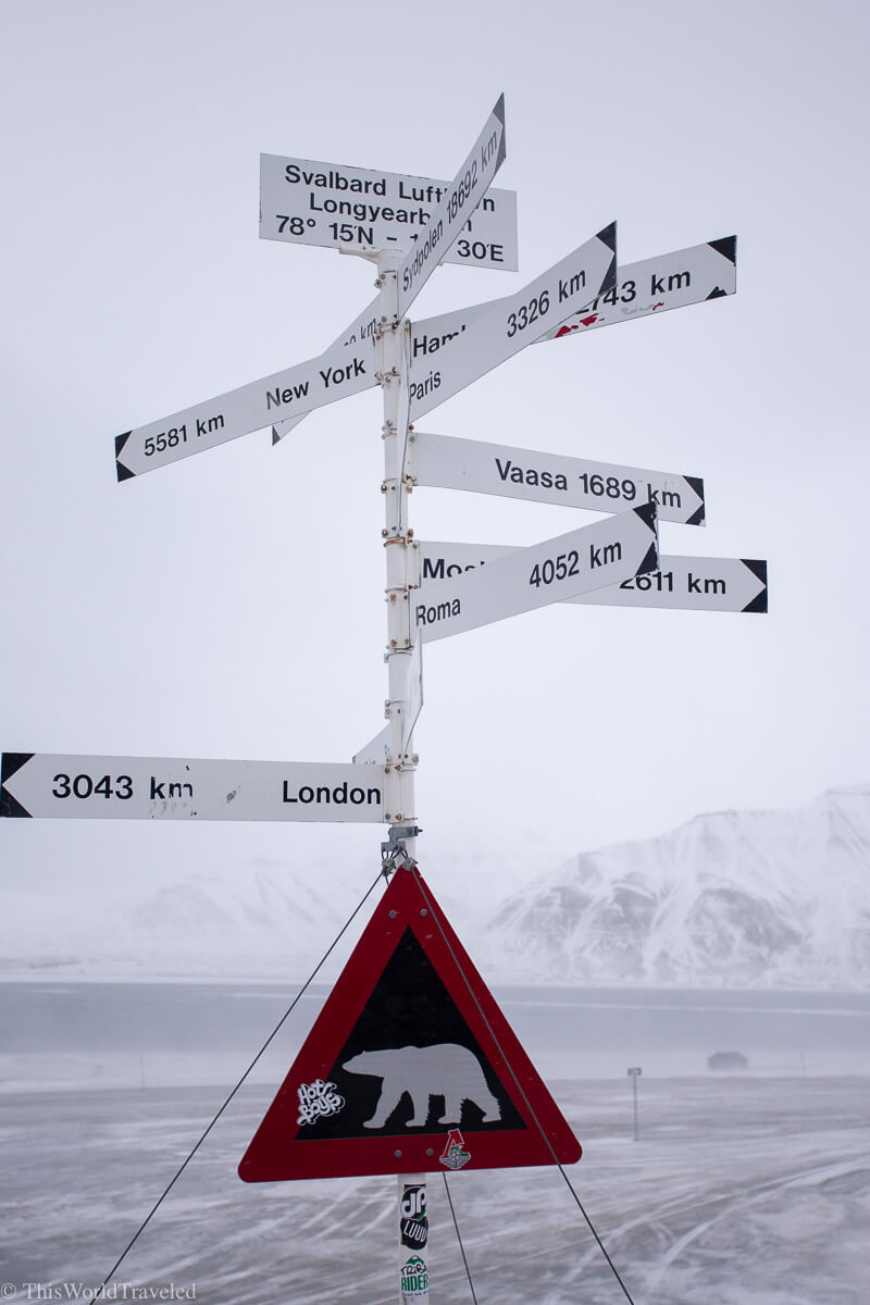 A town sign in Svalbard, Norway