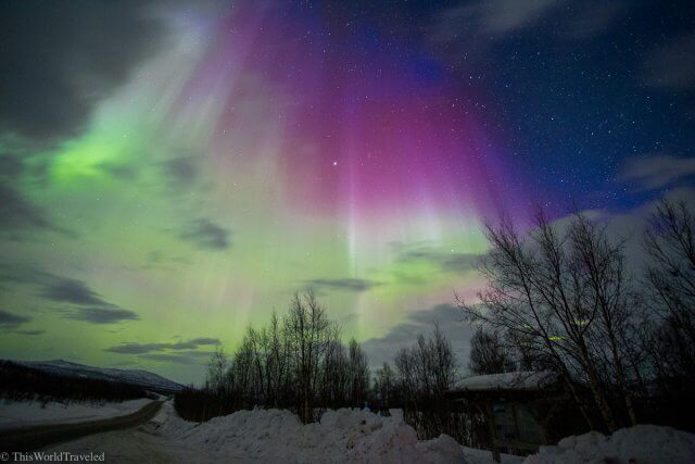 The green and purple hues of the northern lights in Tromsø, Norway