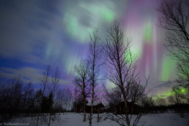 The purples, greens and pinks of the northern lights in Northern Norway