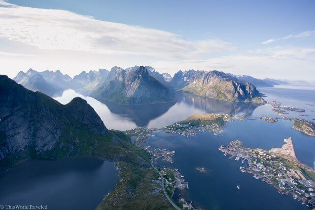 The view from the Reinebringen hike in Reine, Lofoten Islands, Norway