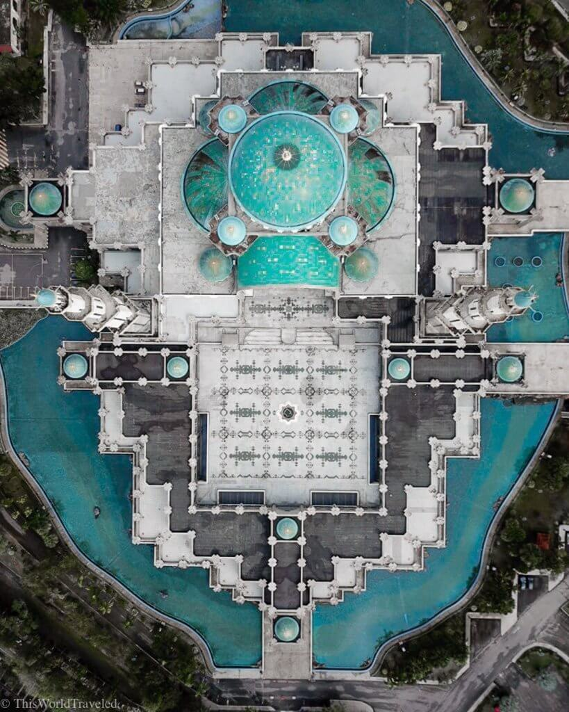 Drone shot of the Wilayah Mosque in KL.