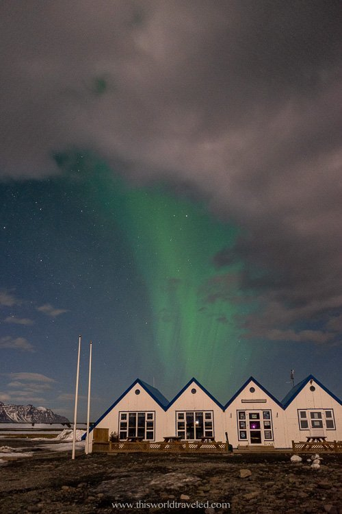 Watching the northern lights at the Jökulsárlón glacier lagoon visitor's center in Iceland