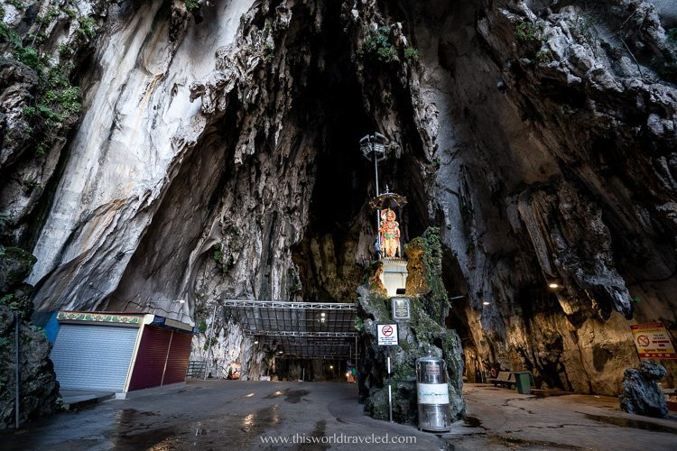 The 100 meter high ceiling inside the Batu Cave temple in Malaysia