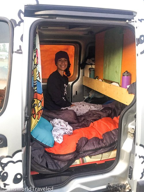 Inside one of the Camper vans from KuKu campers in Iceland