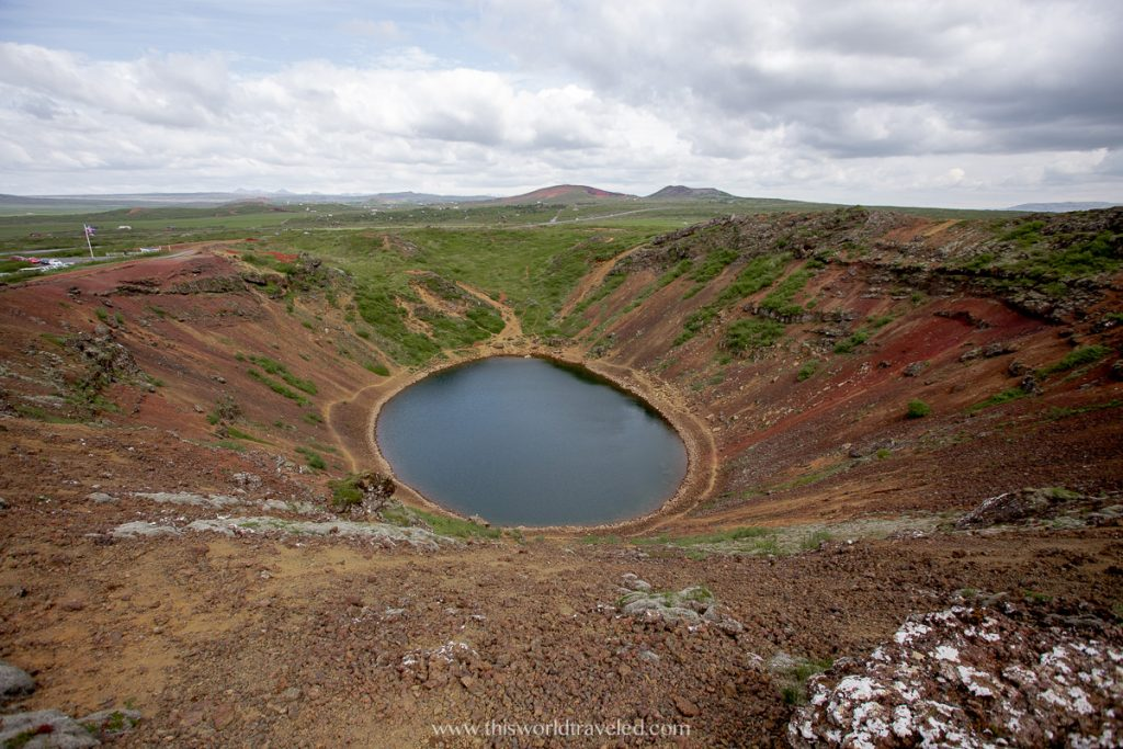 Kerid volcanic crater lake in Iceland along the Golden Circle Route