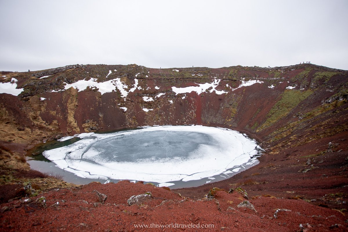 Kerid volcanic crater lake in the winter in Iceland