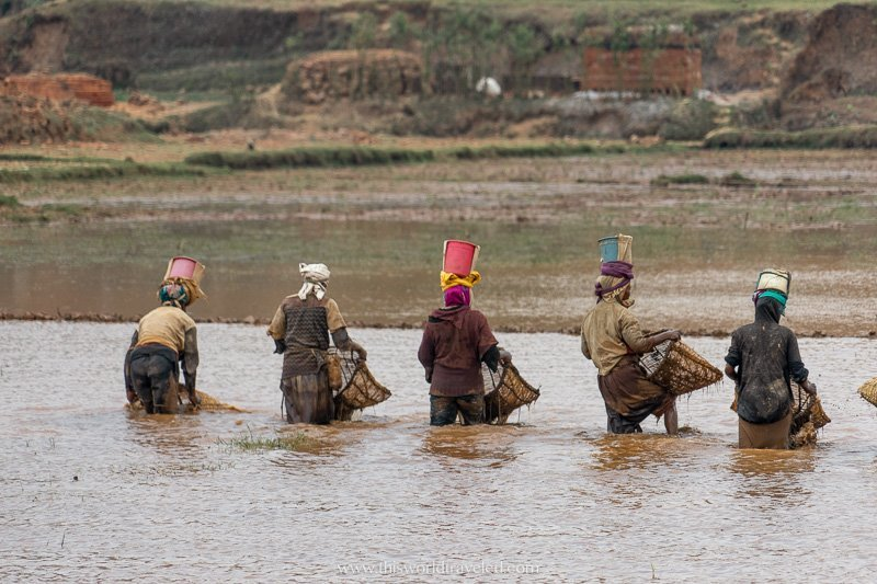 Women in the river in Madagascar