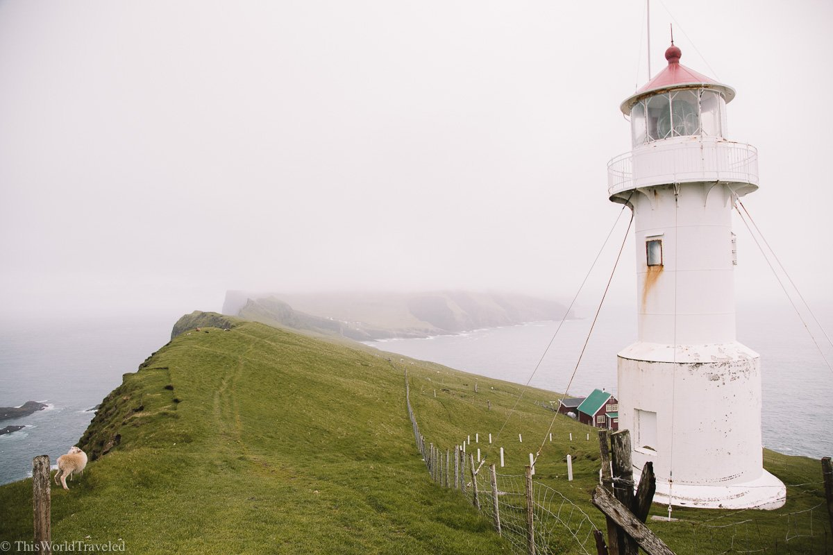 The Hólmur lighthouse is where you will hike to on the island of Mykines.