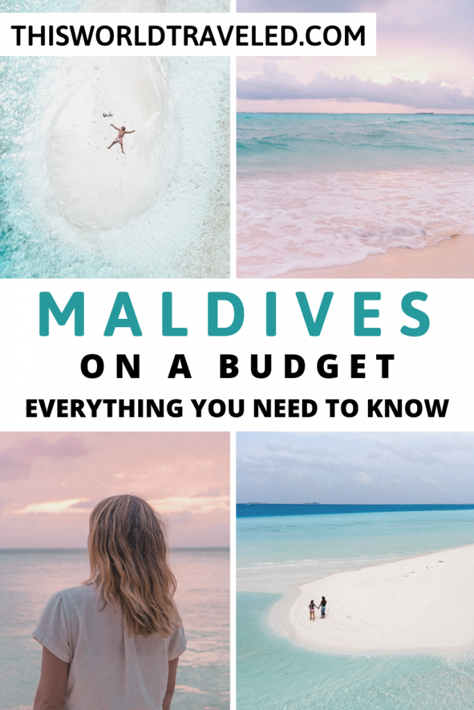 Photos of the Maldives with text that says Maldives on a Budget