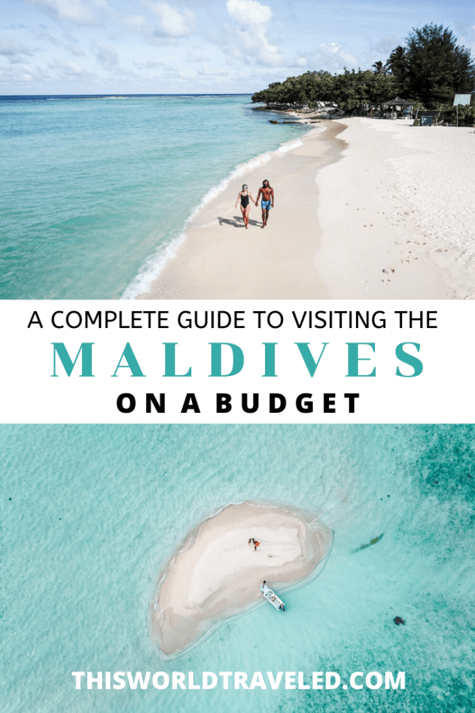 Drone photo of a guy and a girl on the beach in Maldives and a picture of a sandbank in the Maldives