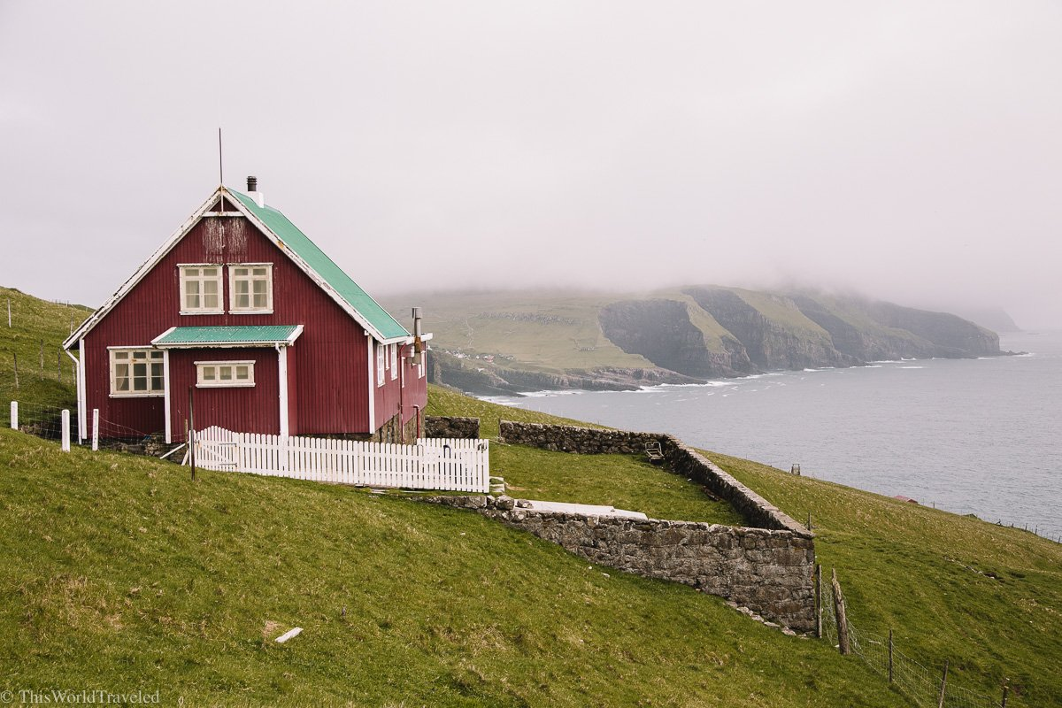 A small red house on Mykines in the Faroe Islands