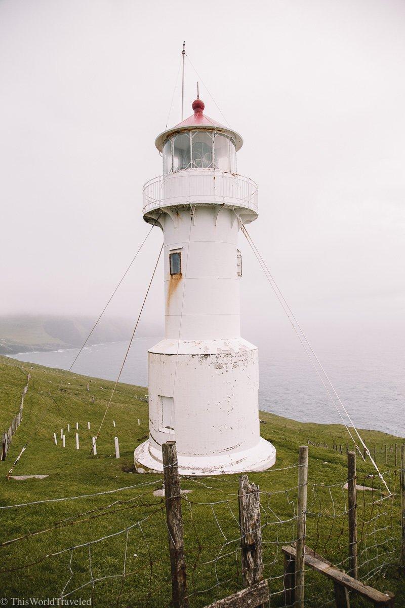 The Hólmur lighthouse on the island of Mykines