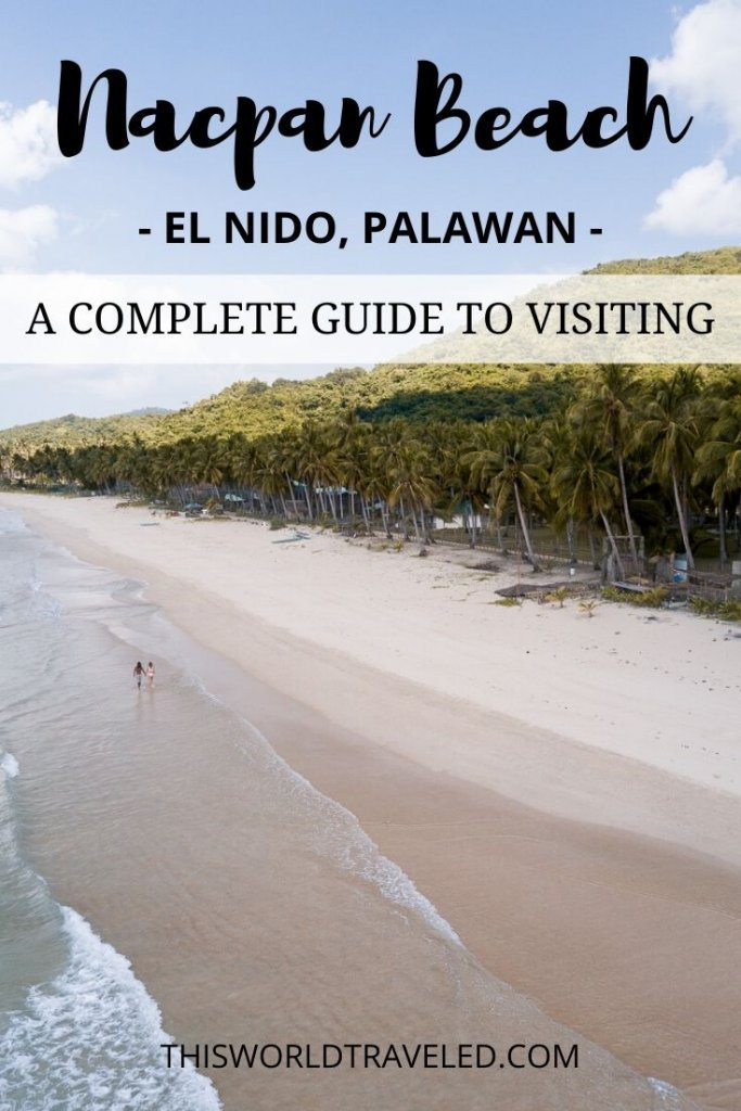 Pinterest board cover for visiting Nacpan Beach in El Nido, Philippines
