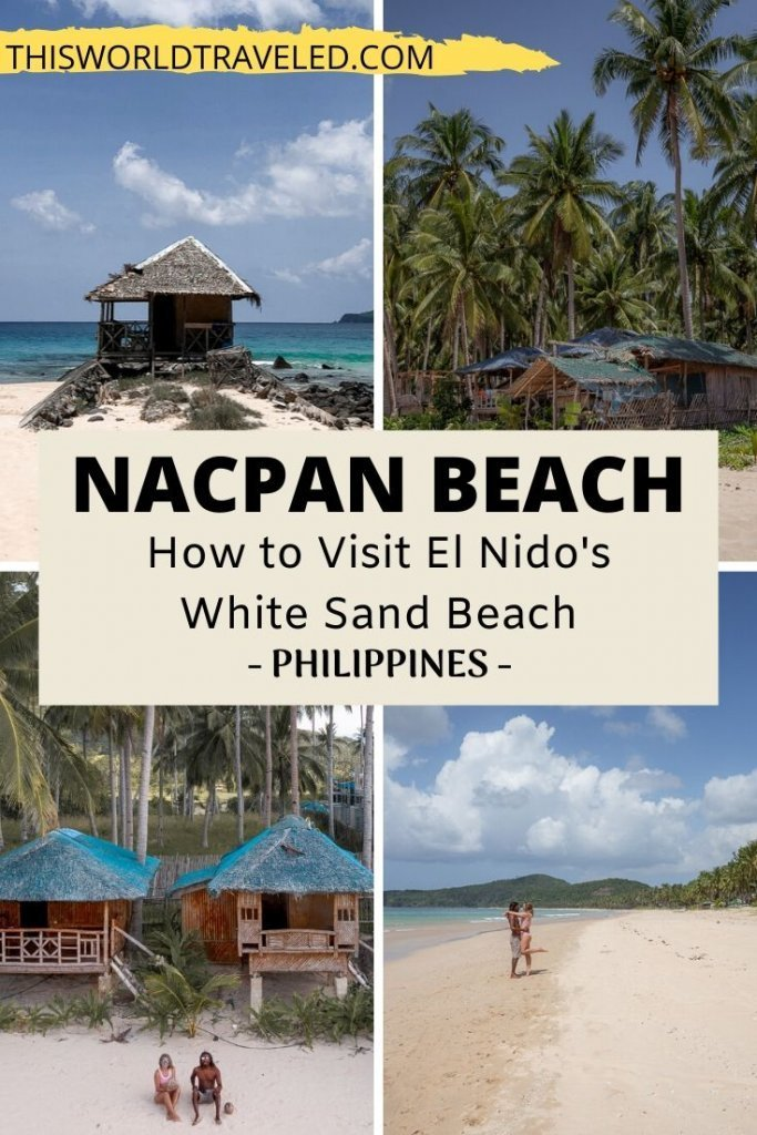 Pinterest board cover with 4 different photos of Nacpan Beach in El Nido