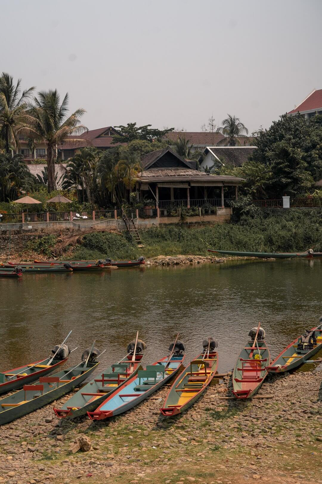 Boats along the Nam Song river in Laos