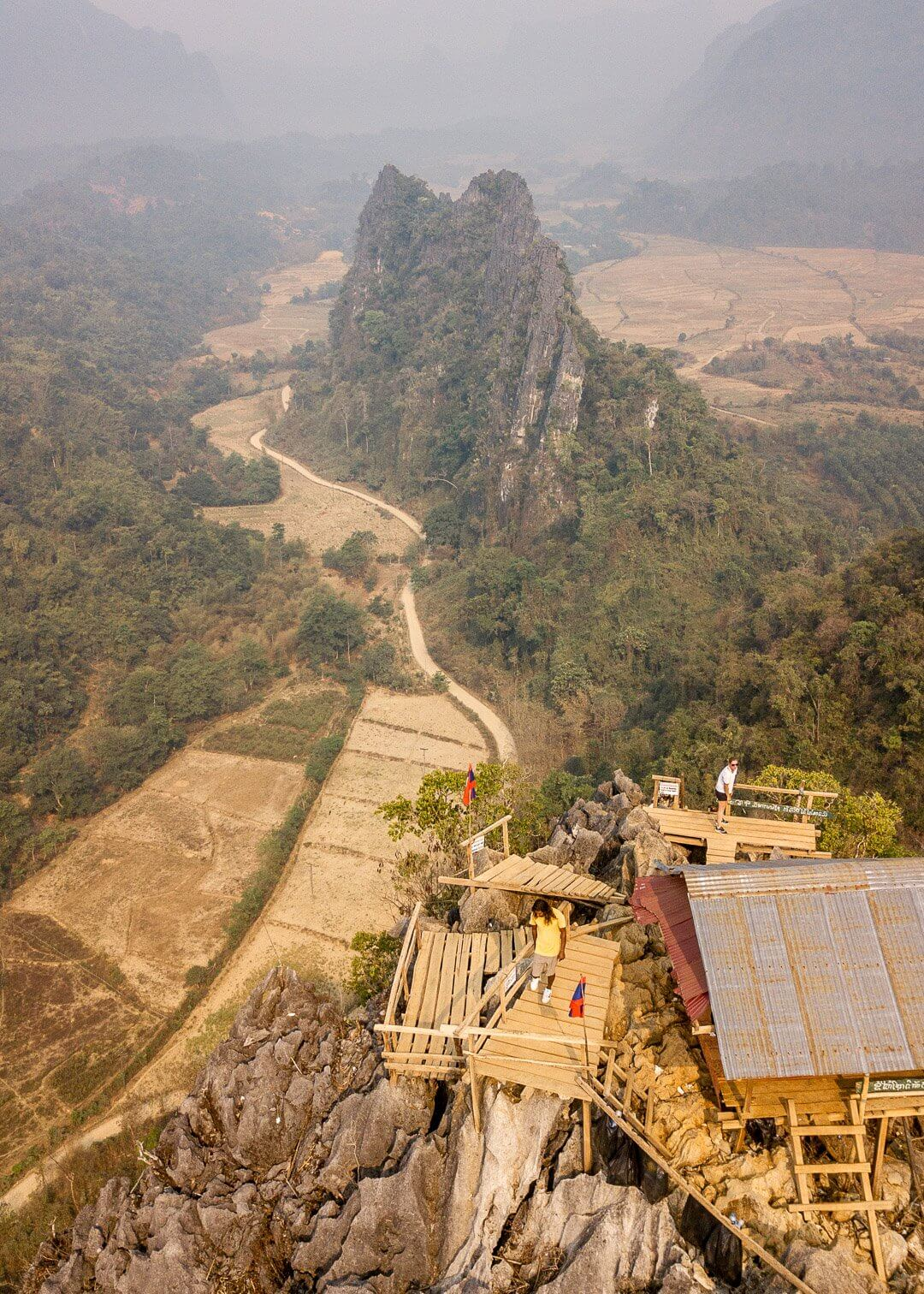 The viewing platforms at the top of the Nam Xay hike in Vang Vieng, Laos