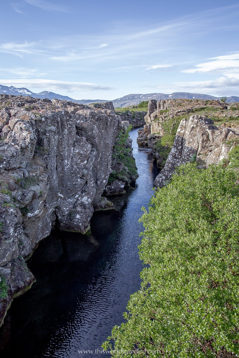 The large fissures from the dividing of the continents that can be seen in Thingvellir National Park along Iceland's Golden Circle Route