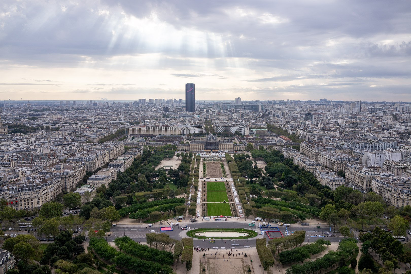 View of the Champ de Mars from one of the observation decks at the Eiffel Tower