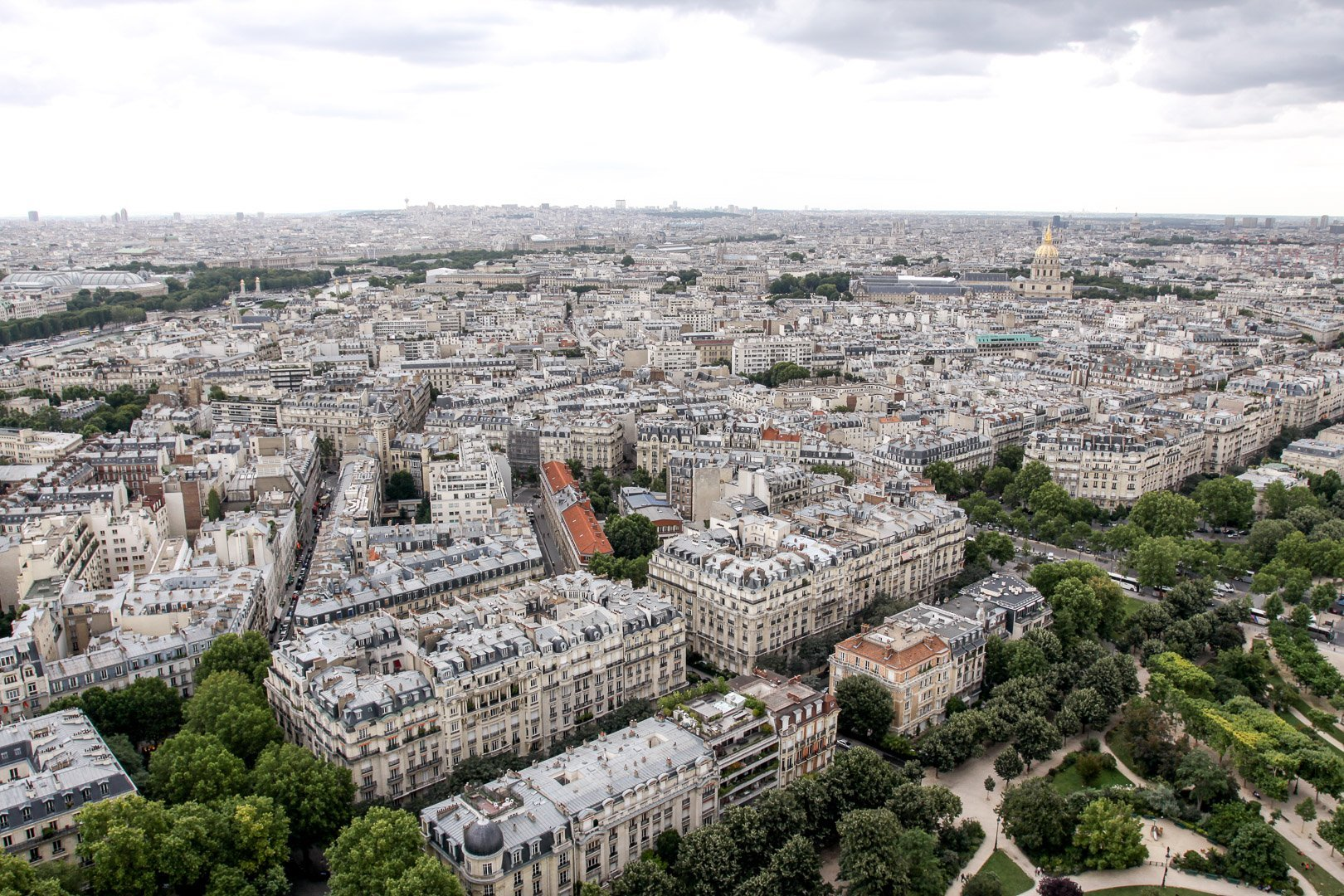 A view of the architecture in Paris from the viewing platform on the Eiffel Tower