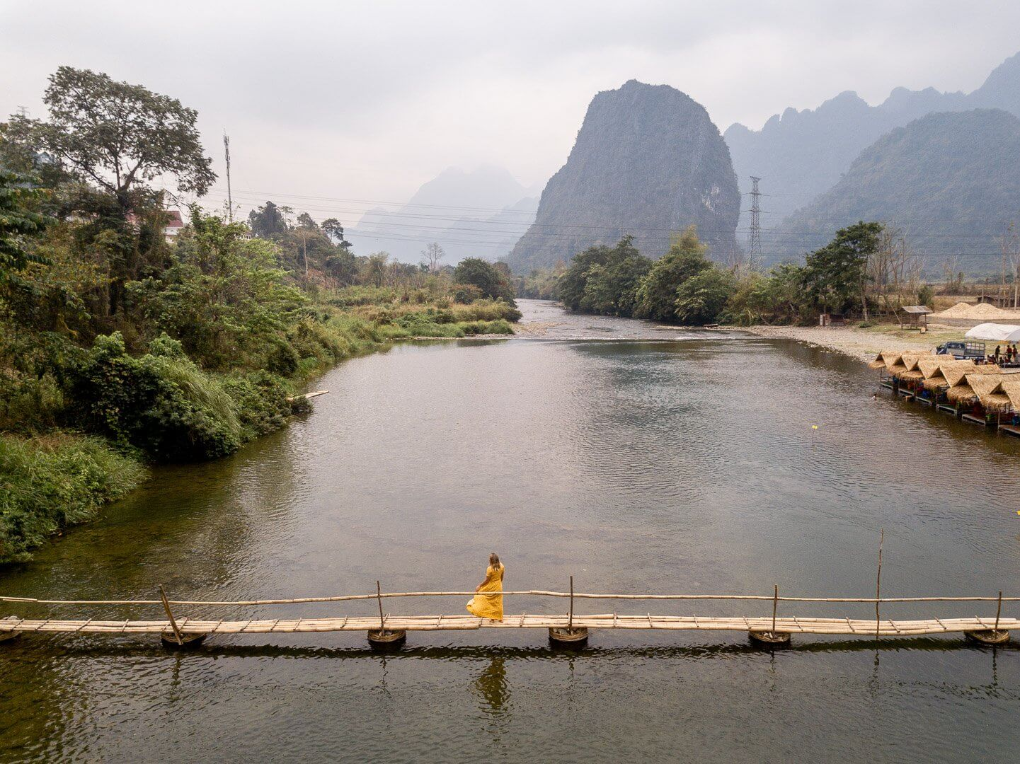 The small pedestrian bamboo bridge at the Pha Tang village near Vang Vieng, Laos