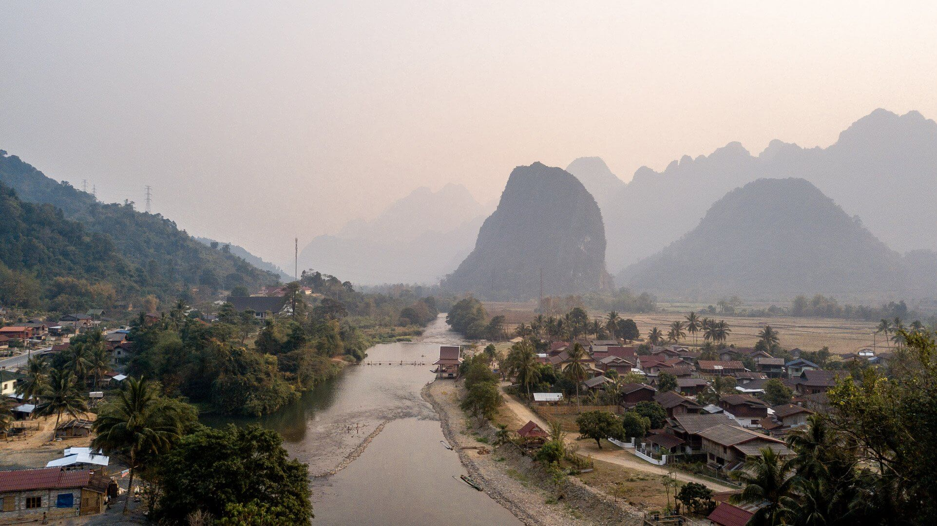 View of Pha Tang village in Laos from a drone