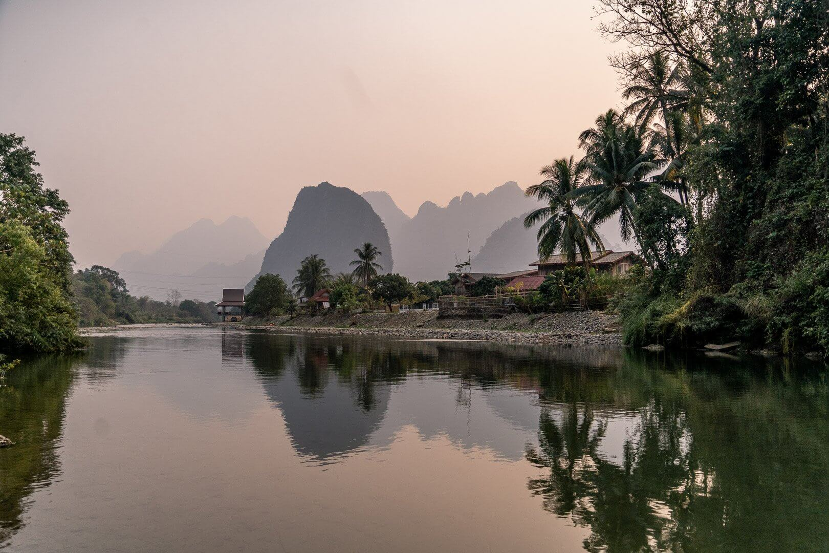 The view of Pha Tang Village from the bridge near Vang Vieng, Laos
