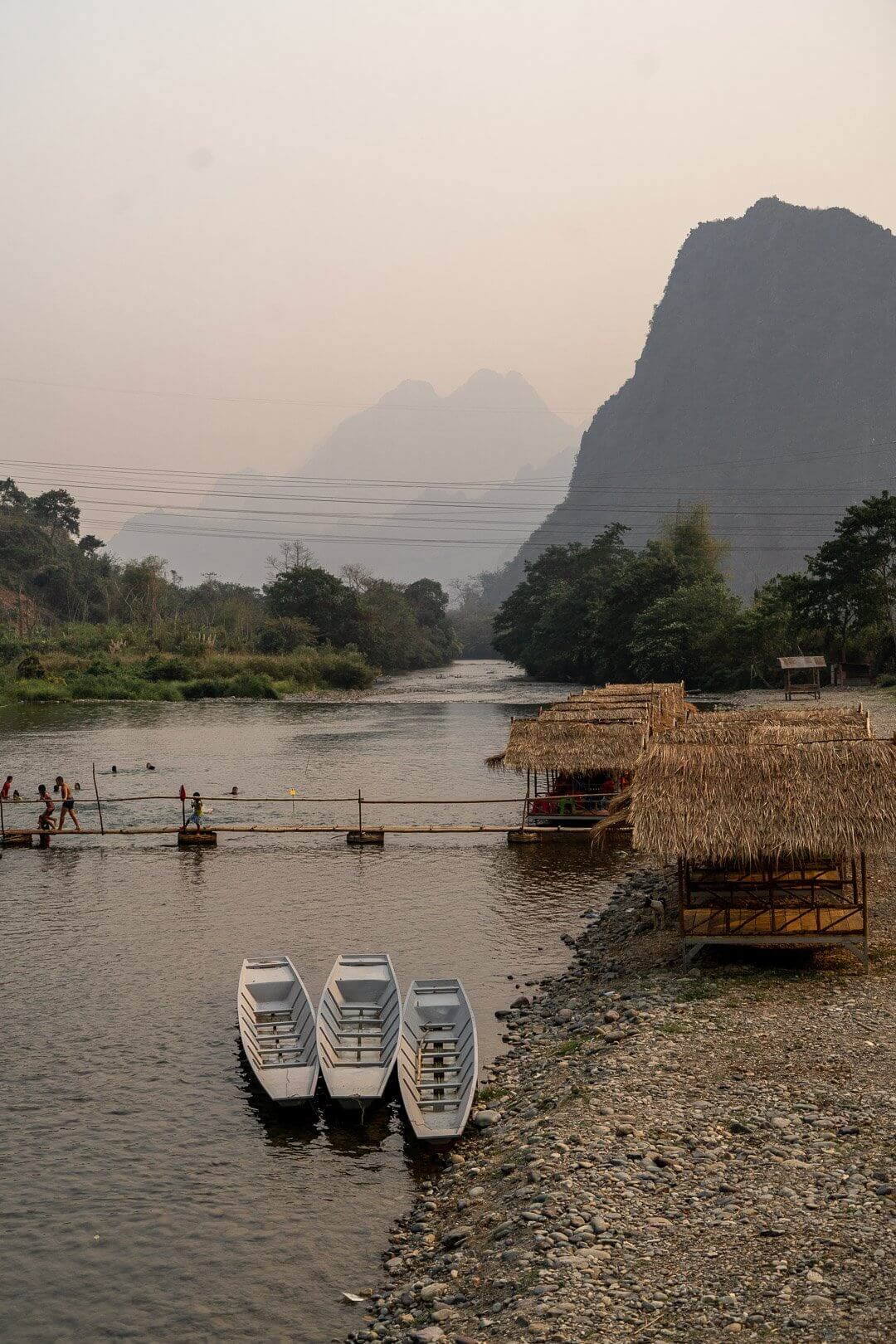 The bamboo bridge at the Pha Tang village near Vang Vieng, Laos