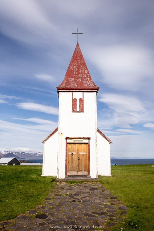 Red roofed church in Iceland