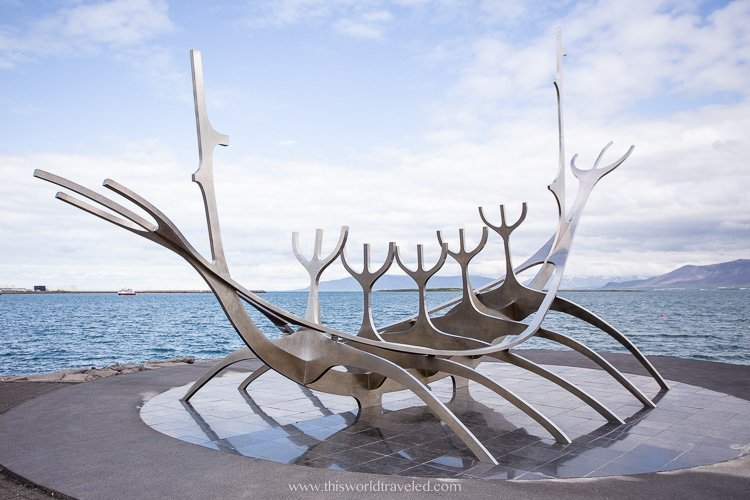 The large sculpture in the Reykjavik Harbor in Iceland