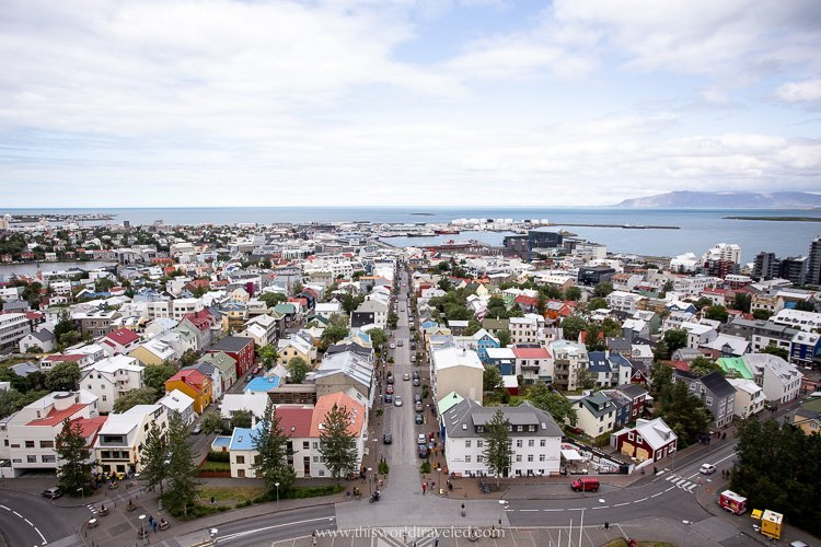 The city of Reykjavik, Iceland as seen from inside the top of the church.