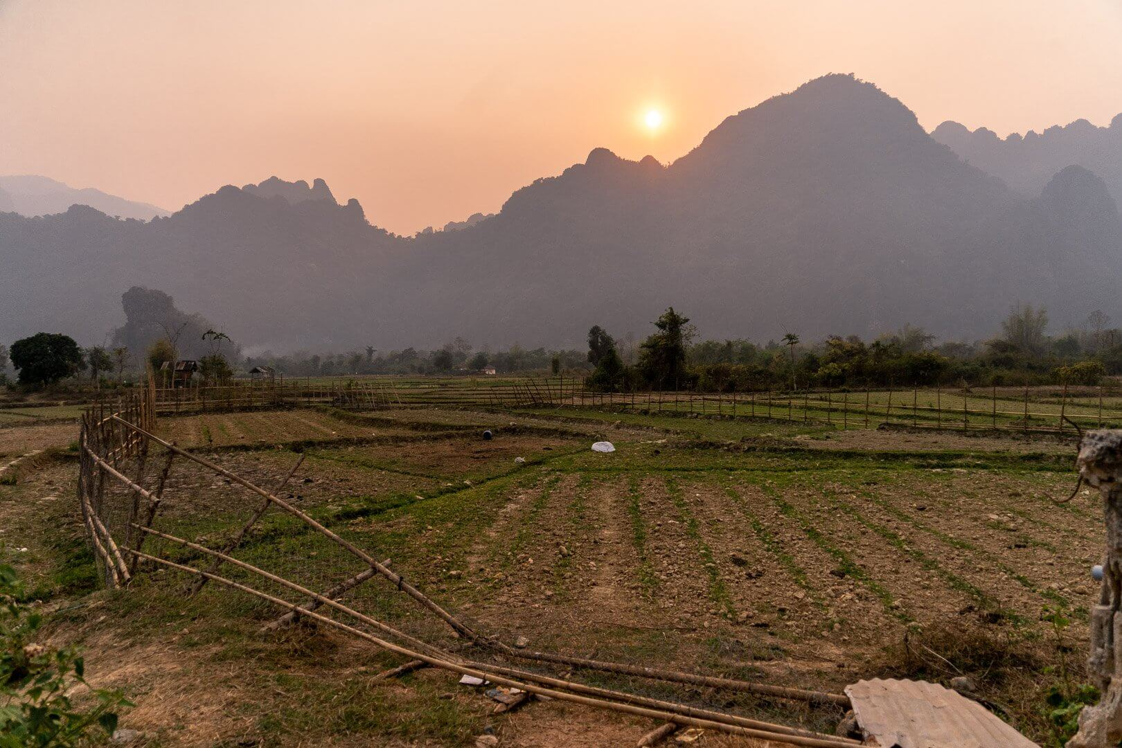 The rice terraces at sunset in Vang Vieng