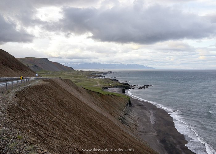 The Ring Road in Iceland along the coast on the way to the small fishing village of Borgarfjörður eystri