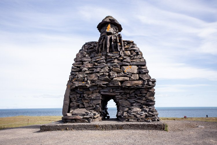 A large rock structure in Iceland along the Snæfellsnes Peninsula