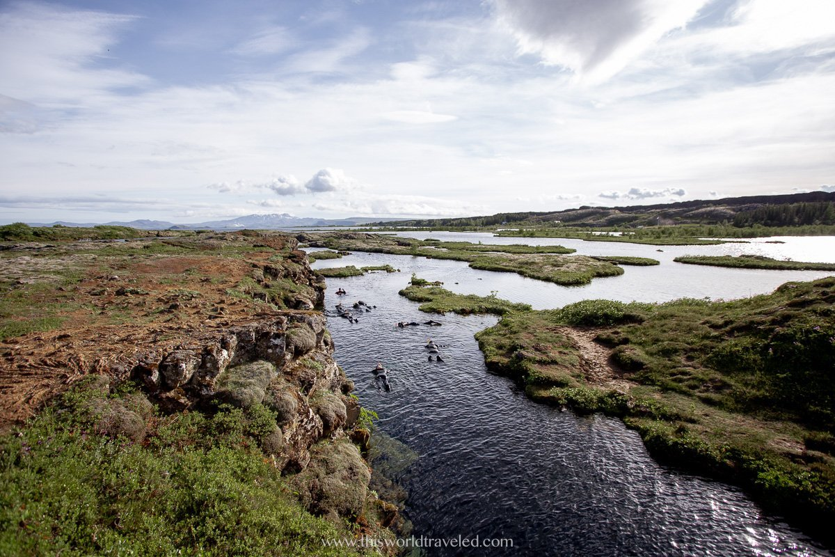 The spot where you can snorkel silfra, the space between the two tectonic plates in Iceland
