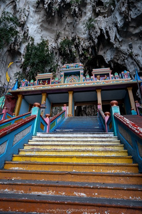 Yellow colored steps at the Batu Caves temple